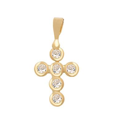 5716707007 - Cruz en oro amarillo de 18 Kilates, Bisel, con zircones, 11 mm. de ancho