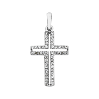 Cruz en oro blanco de 18 Kilates con 46 diamantes de 0.13 Ct peso total, 18 milímetros de largo, 11 milímetros de ancho.