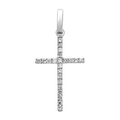 Cruz en oro blanco de 18 Kilates con 22 diamantes de 0.14 Ct peso total.