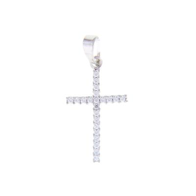 5726709012 - Cruz en oro blanco de 18 Kilates, Plana, con zircones, 12 mm. de ancho