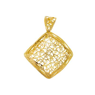 Dije en oro amarillo de 18 Kilates, rombo, ondas.