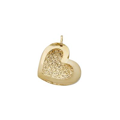 Dije en oro amarillo de 18 Kilates visos corazon, 18 milímetros de ancho