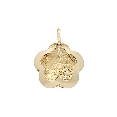 Dije en oro amarillo de 18 Kilates visos margarita, 13 milímetros de ancho