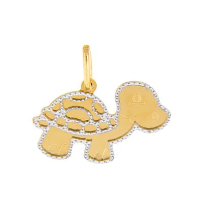 Dije en oro amarillo de 18 Kilates, tortuga, bisel rodinado.