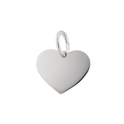 Dije en oro blanco de 18 Kilates, corazón, liso, 12 milímetros de ancho.