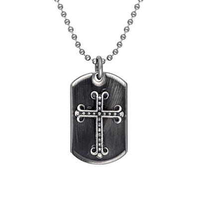Gargantilla en acero, tejido pallinato, placa con cruz gótica, 60 centímetros de largo de la colección forza.