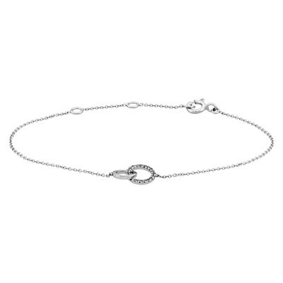 Pulsera en oro blanco de 18 Kilates rodinado, tejido rolo con diamantes en decoracion de 0.07Ct peso total, 18 centímetros de largo, 0.5 milímetros de ancho