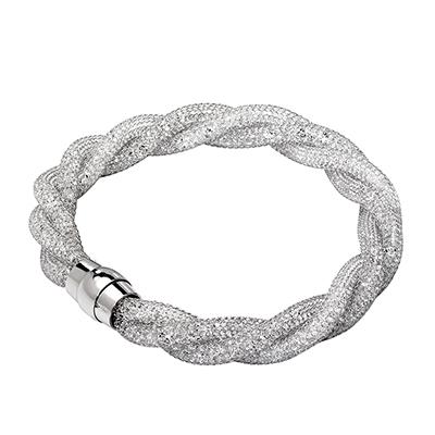 Pulsera en plata Ley 925, tejido malla con cristal, 20 centímetros de largo, 8 milímetros de ancho de la colección sueños.