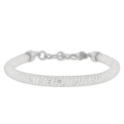 Pulsera en plata Ley 925, tejido malla con cristal, 18 centímetros de largo, 6 milímetros de ancho de la colección sueños.
