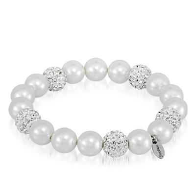 Pulsera en plata Ley 925 con zircones y perlas sintéticas de la colección sueños.