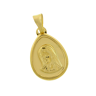 Medalla en oro amarillo de 18 Kilates satinado virgen, 13 milímetros de ancho