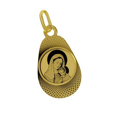 Medalla en oro amarillo de 18 Kilates visos satinado virgen, 12 milímetros de ancho