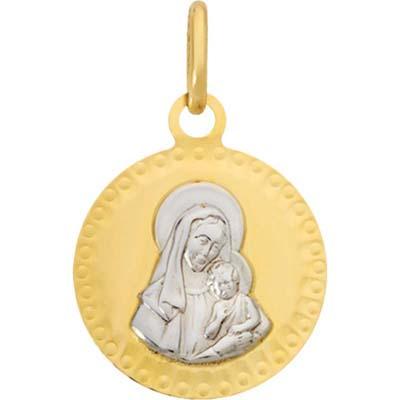 Medalla en oro amarillo de 18 Kilates rodinado visos virgen, 14.5 milímetros de ancho