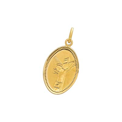 Medalla en oro amarillo de 18 Kilates satinado cristo, 14.5 milímetros de ancho