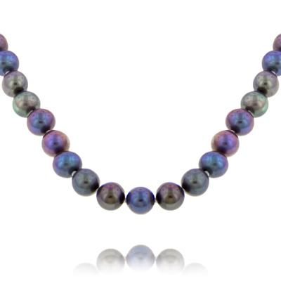 Collar en oro amarillo de 18 Kilates, perlas pavo real y azules, 8 milímetros de ancho.