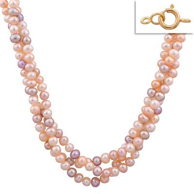 Collar en oro amarillo de 18 Kilates, perlas en 3 vueltas, 45 centímetros de largo, 4 milímetros de ancho.