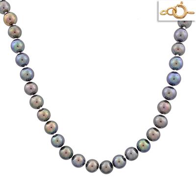 Collar en oro amarillo de 18 Kilates, perlas pavo real, 45 centímetros de largo, 6.5 milímetros de ancho.