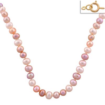 Collar en oro amarillo de 18 Kilates, perlas de colores, 45 centímetros de largo, 6.5 milímetros de ancho.