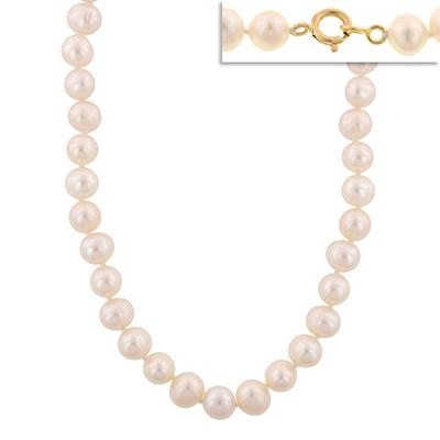 Collar en oro amarillo de 18 Kilates, perlas, 45 centímetros de largo, 8.5 milímetros de ancho.