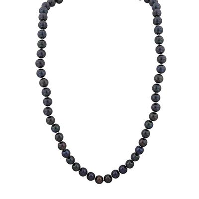 Collar en oro amarillo de 18 Kilates rodinado, tejido diseño con perla, 45 centímetros de largo, 7 milímetros de ancho