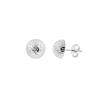 Topos en oro blanco de 18 Kilates visos, 1/2 bola, 10 milimetros de ancho, con broche tipo: Mariposa
