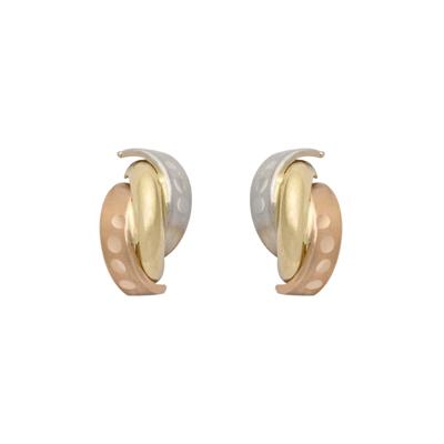 Topos en 3 oros de 18 Kilates rodinado franjas, 2.5 milímetros de ancho, con broche tipo mariposa