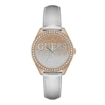 Reloj Guess analogo, para Dama, tablero redondo colores rosa y gris, estilo sin numeros, pulso cuero color gris