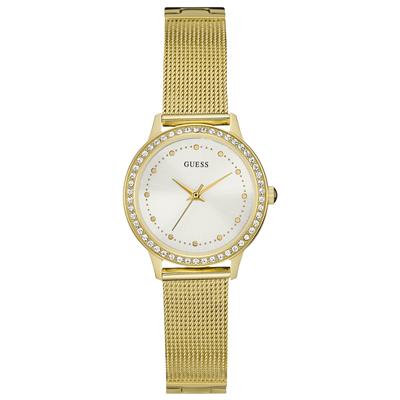 Reloj, tablero redondo, blanco, puntos, analogo, pulso metalico dorado