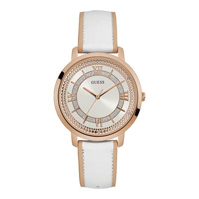 Reloj Guess analogo, para Dama, tablero redondo color blanco, estilo index + romano, pulso cuero colores blanco y rosa