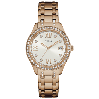 Reloj, tablero redondo, blanco, index + romano, analogo, pulso metalico silver