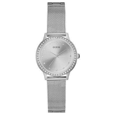 Reloj Guess analogo, para Dama, tablero redondo color plateado, estilo puntos, pulso metalico color plateado