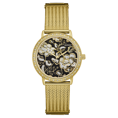 Reloj para Dama, tablero redondo, negro, sin numeros, analogo, pulso metalico metalico