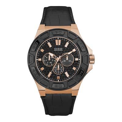 Reloj para Hombre, tablero redondo, negro, index, analogo, pulso cuero negro, calendario