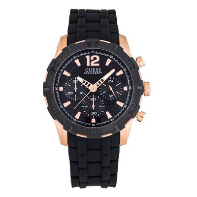 Reloj, tablero redondo, negro, index + romano, analogo, pulso silicona negro, calendario