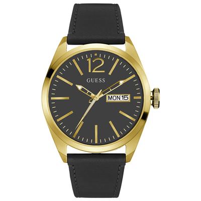 Reloj para Hombre, tablero redondo, negro, index + arabigo, analogo, pulso cuero negro