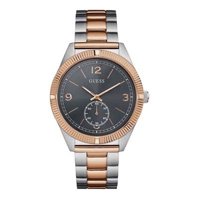 Reloj para Hombre, tablero redondo, negro, index + arabigo, analogo, pulso metalico metalico