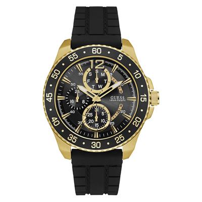 Reloj, tablero redondo, negro, index + arabigo, analogo, pulso silicona negro
