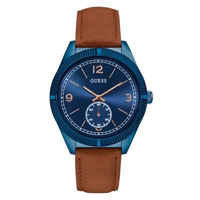 Reloj para Hombre, tablero redondo, azul, index + romano, analogo, pulso cuero cafe
