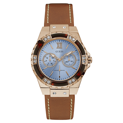 Reloj, tablero redondo, azul, index + romano, analogo, pulso cuero cafe, calendario