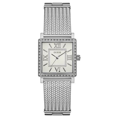 Reloj Guess analogo, para Dama, tablero cuadrado color plateado, estilo index + romano, pulso metalico color plateado
