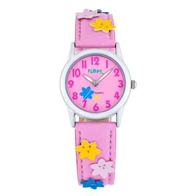 Reloj para Niño, tablero redondo, rosa, arabigo, analogo, pulso cuero sintetico rosa
