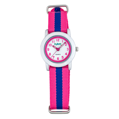 Reloj para Niño, tablero redondo, blanco, arabigo, analogo, pulso lona colores