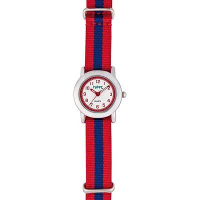 Reloj Flopy analogo, para Niño(a), tablero redondo color blanco, estilo arabigos, pulso lona