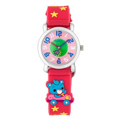 Reloj Flopy analogo, para Niño(a), tablero redondo color rosa, estilo arabigos, pulso plastico color rojo