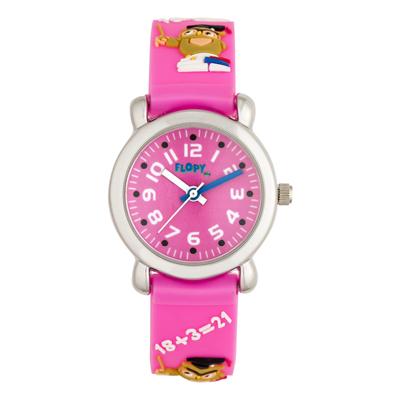 Reloj para Niño, tablero redondo, rosado, arabigo, analogo, pulso plastico rosado