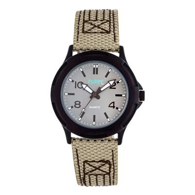 Reloj Flopy analogo, para Niño(a), tablero redondo color gris, estilo index + arabigo, pulso cuero sintetico color beige