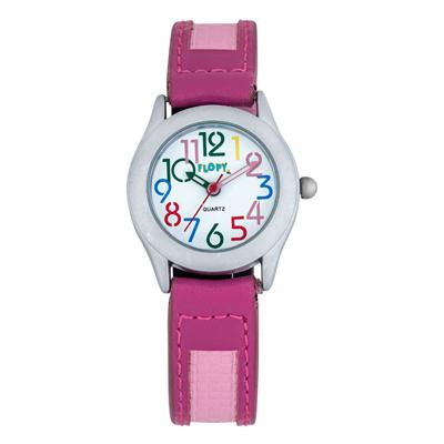 Reloj para Niño, tablero redondo, blanco, arabigo, analogo, pulso cuero sintetico fucsia