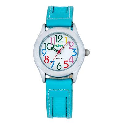 Reloj Flopy analogo, para Niño(a), tablero redondo color blanco, estilo arabigos, pulso cuero sintetico color azul