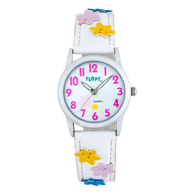 Reloj Flopy analogo, para Niño(a), tablero redondo color blanco, estilo arabigos, pulso cuero sintetico color blanco