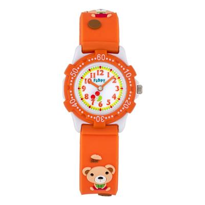 Reloj Flopy analogo, para Niño(a), tablero redondo color blanco, estilo arabigos, pulso plastico color naranja